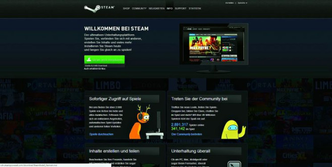 Webseite Steam: Account © Steam