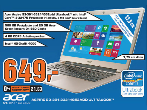 Acer Aspire S3-391-33214G52add (NX.M1FEG.013) © Saturn