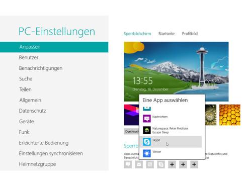 Windows 8: Apps f�r den Sperrbildschirm einrichten ©COMPUTER BILD