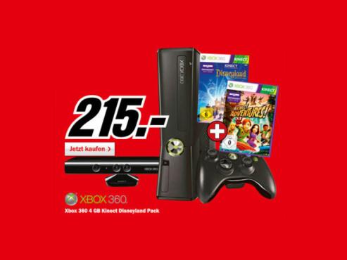 Microsoft Xbox 360 S 4GB Kinect samt Kinect Disneyland Adventures und Kinect Adventures ©Media Markt