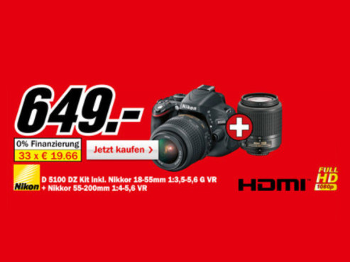 Nikon D5100 Kit 18-55 mm + 55-200 mm ©Media Markt