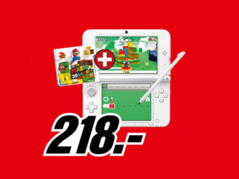 Nintendo 3DS XL Weiß samt Super Mario 3D Land © Media Markt