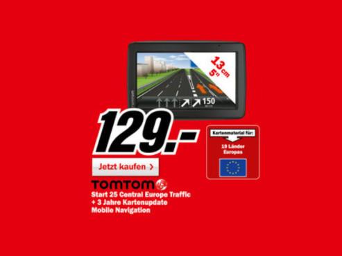 TomTom Start 25 Central Europe Traffic mit Karten-Updates für drei Jahre ©Media Markt