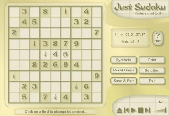 Just Sudoku Professional Edition ©M. Flueckiger