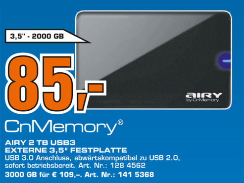 CnMemory 3.5 Airy USB 3.0 2TB © Saturn