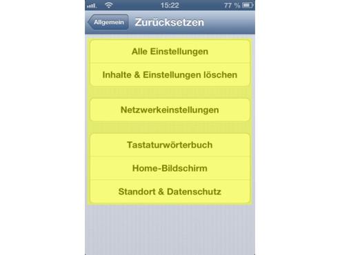 Screenshot Datenlöschung unter iOS ©COMPUTER BILD