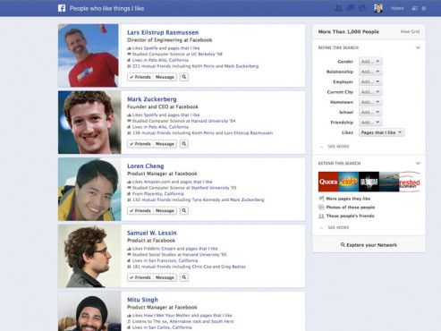 Facebook-Suche Graph Search © Facebook
