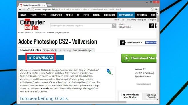 COMPUTER BILD-Download-Seite ©COMPUTER BILD