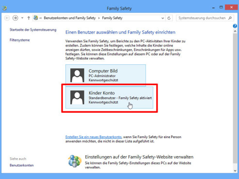 Windows 8: Family Safety © COMPUTER BILD