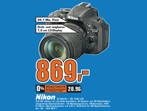 Nikon D5200 Kit 18-105 mm © Saturn