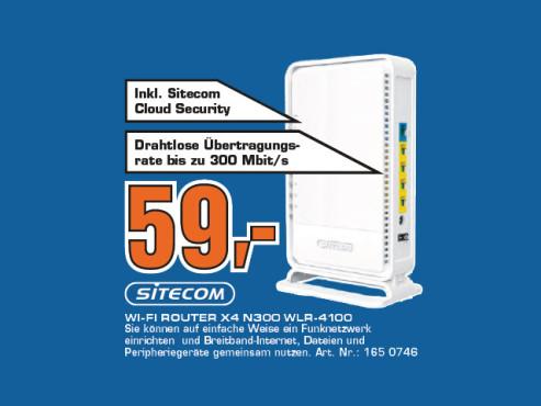 Sitecom Wi-Fi Router X4 N300 (WLR-4100) ©Saturn
