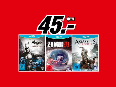 Batman: Arkham City – Armoured Edition, Zombi U, Assassin's Creed 3 © Media Markt