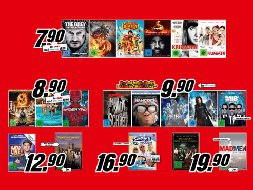 Diverse DVD-/Blu-ray-Filme © Media Markt