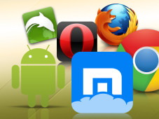 Browser-Alternativen f�r Android © Google, Maxthon Ltd., Opera Software, Mozilla,