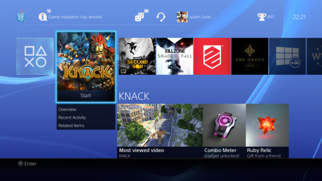 Playstation 4: Homescreen © Sony