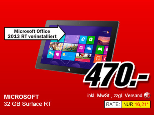 Microsoft Surface RT 32GB © Media Markt