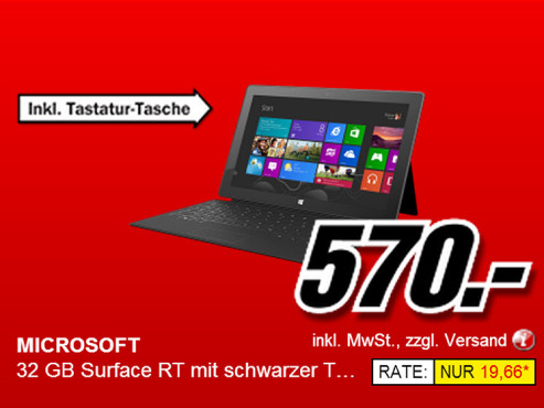 Microsoft Surface RT 32GB plus Touchcover © Media Markt