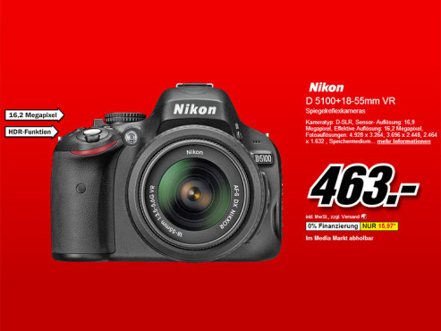Nikon D5100 Kit 18-55 mm © Media Markt