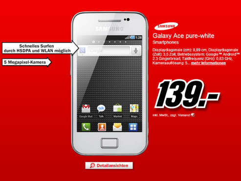 Samsung Galaxy Ace Pure-White © Media Markt