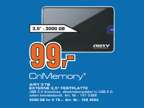 CnMemory 3.5 Airy USB 3.0 3TB © Saturn