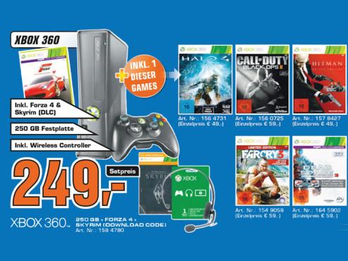 Microsoft Xbox 360 S 250GB plus Spiel ©Saturn