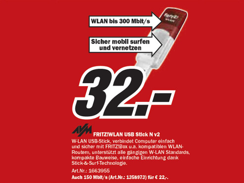 AVM Fritz!WLAN USB Stick N v2 © Media Markt