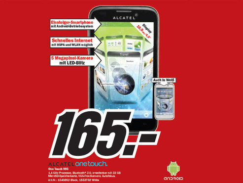 Alcatel One Touch 995 © Media Markt