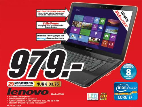 Lenovo IdeaPad Y500 (MBG2G) ©Media Markt