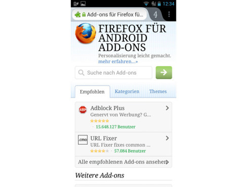 Firefox – Add-on-Auswahl © computerbild.de