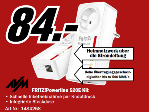AVM FRITZ!Powerline 520E Set © Media Markt