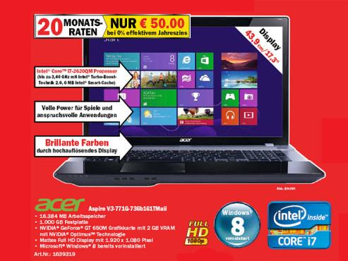 Acer Aspire V3-771G-736b161TMaii (NX.M1WEG.089) ©Media Markt