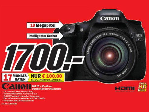 Canon EOS 7D Kit 15-85 mm © Media Markt
