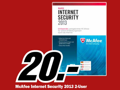 McAfee Internet Security 2013 (2 User) (1 Jahr) (Win) (Multi) © Media Markt