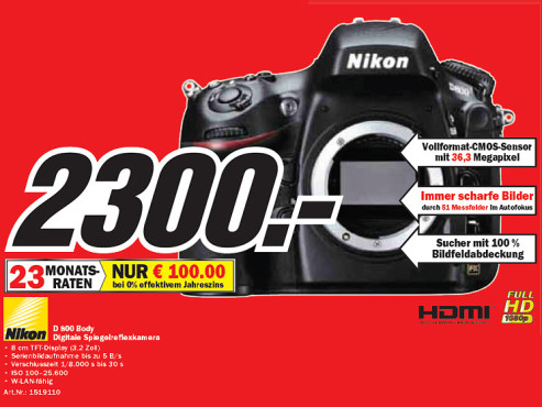 Nikon D800 Body ©Media Markt
