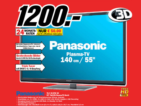 Panasonic TX-P55STW50 ©Media Markt