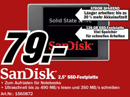 Sandisk 128GB SSD SATA III 2.5 ©Media Markt