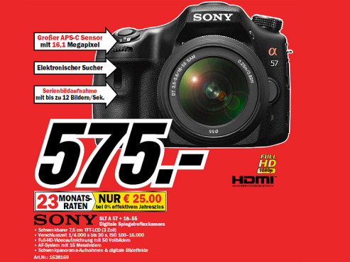 Sony Alpha 57 Kit 18-55 mm (SLT-A57VK) © Media Markt
