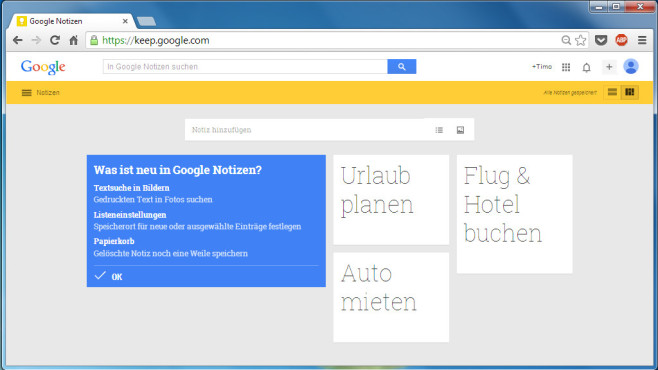Google Notizen © Google, COMPUTERBILD