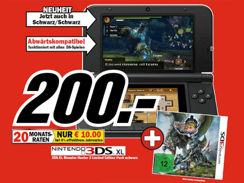 Nintendo 3DS XL Monster Hunter 3 Ultimate Limited Edition Pack © COMPUTER BILD