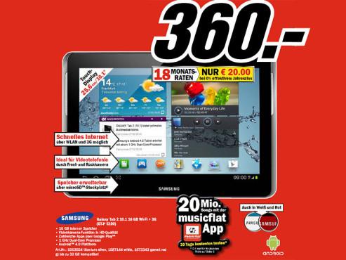 Samsung Galaxy Tab 2 (10.1) 16GB 3G ©COMPUTER BILD