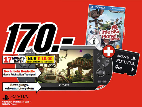 Sony PlayStation Vita WiFi + Little Big Planet: PS Vita + Speicherkarte 4GB © COMPUTER BILD