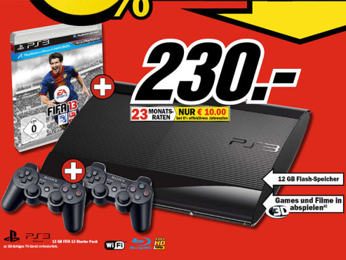 Sony Playstation 3 (PS3) Super slim 12 GB + FIFA 13 © COMPUTER BILD