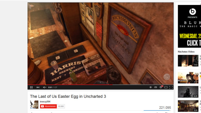 Uncharted 3: Last of Us Easter Egg © Sony