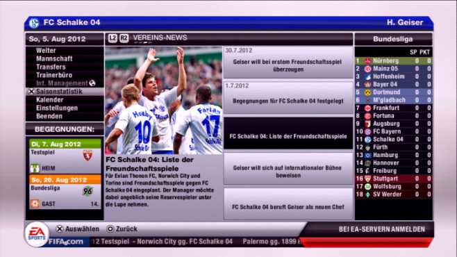 Fußballspiel Fifa 13: Karriere ©Electronic Arts