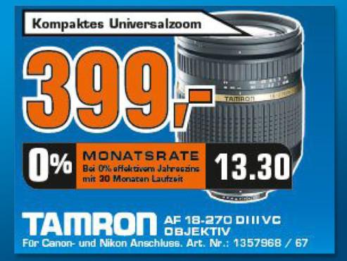 Tamron AF 18-270mm f3.5-6.3 Di II VC PZD [Nikon] ©Saturn