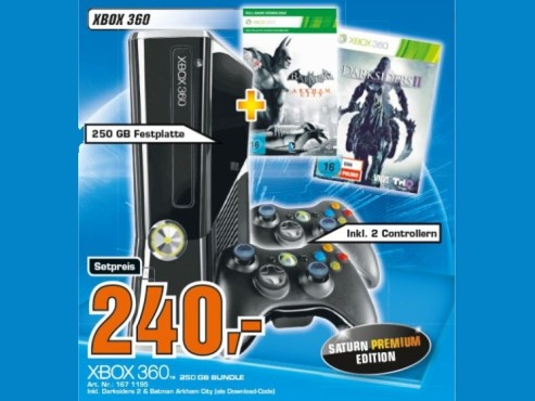 Microsoft Xbox 360 slim 250 GB + Batman: Arkham City + Darksiders 2 ©COMPUTER BILD
