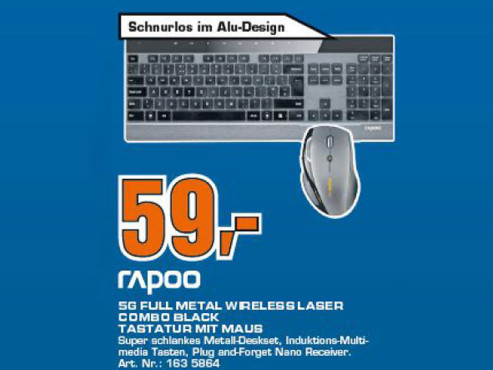 Rapoo Full Metal kabellose Tastatur + Maus ©COMPUTER BILD