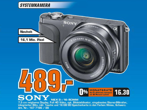 Sony Alpha NEX-3N Kit 16-50 mm schwarz (NEX-3NLB) ©COMPUTER BILD