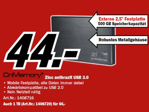CnMemory 2.5 Zinc USB 3.0 500GB ©Media Markt