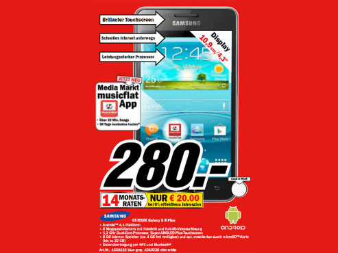 Samsung Galaxy S2 Plus (I9105P) ©Media Markt